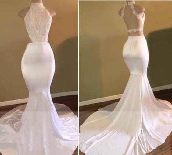 Elegant White Backless Mermaid Lace Formal Gown,Sexy Party Dress,Formal