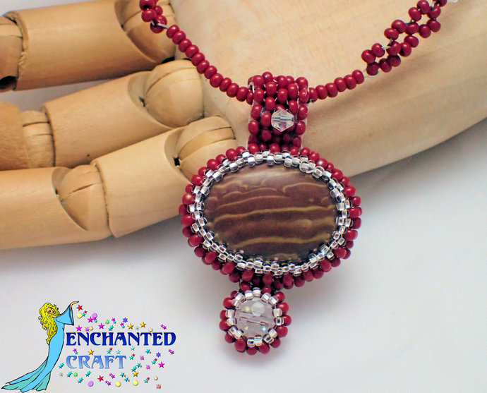 lovely handmade chocolate brown zebra stone pendant with crystal bead drop and