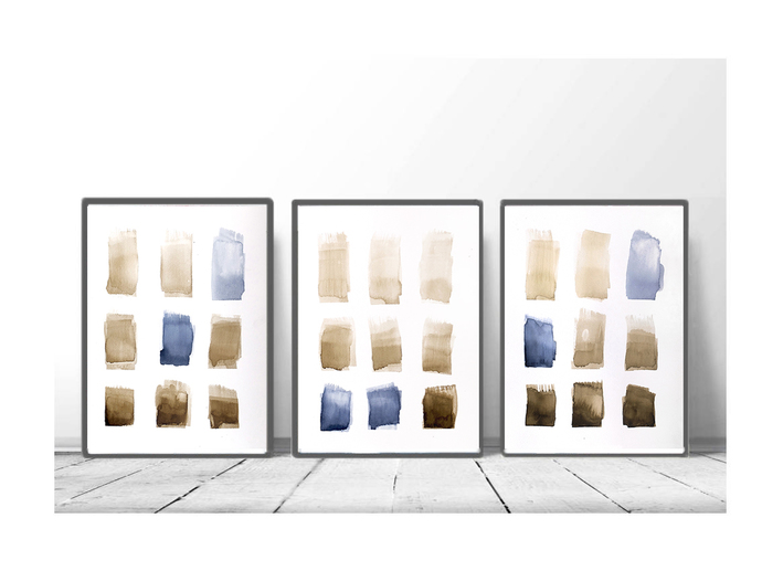 Set of 3 watercolor abstract, original painting brown blue, geometric watercolor