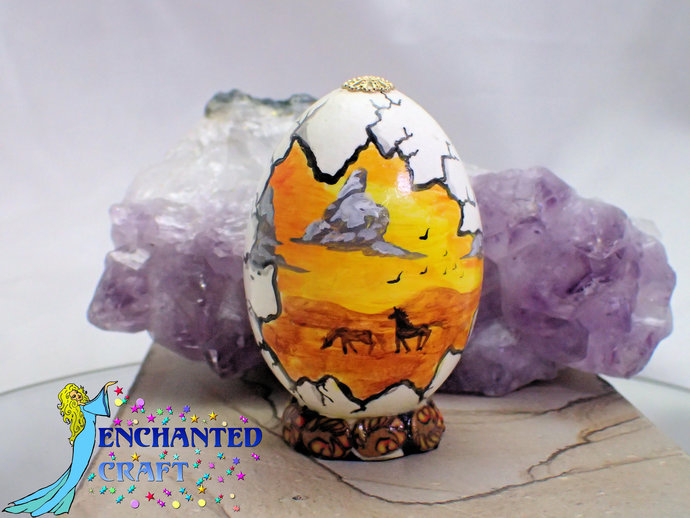 Hand painted egg- 'Other World Egg- Mustangs in the Sun- on a permanent stand