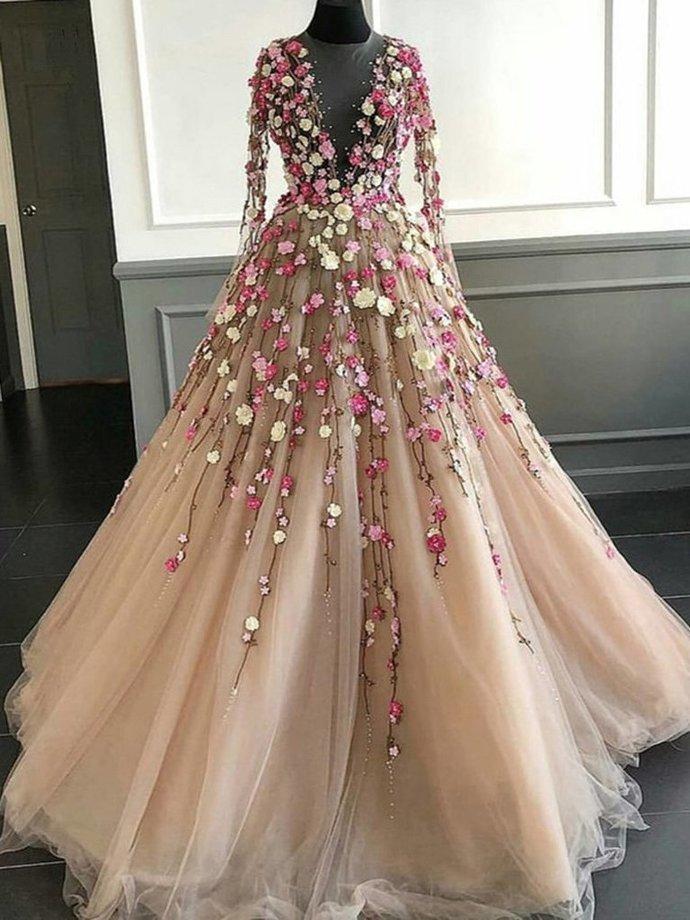 Long Sleeve Prom Dresses A Line Hand-Made Flower Floor-Length Long Beautiful