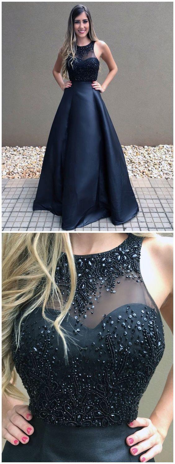 Hot Sale Beautiful Prom Dresses Ball Gown Prom Dresses Black Long Evening Dress