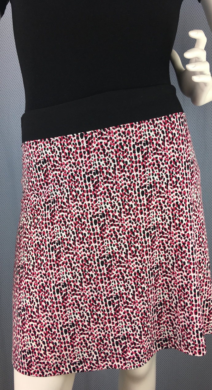 Playful Print has Red Front/Black Back Silky Fabric A-Line Skirt Skims over Hips