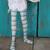 Wren's Aqua/grey/white striped stockings for Bbflocking Cricket dolls