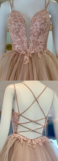 Ball Gown Champagne Prom Dress,Fashion Double Straps Prom Gown