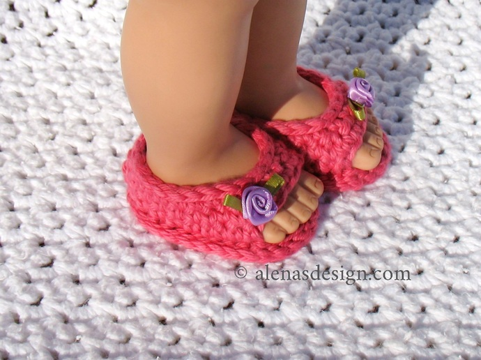 Crochet Pattern 224 Open-Toed Doll Shoes for 18 inch American Girl Doll Crochet