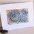 """Big Blue"" Dot & Spiral Splash Study original mixed media painting, 5x7 matted"