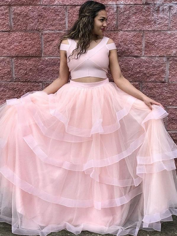 Two Piece Prom Dresses V-neck Aline Sexy Pearl Pink Simple Long Cheap Prom Dress