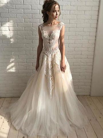 Beautiful Prom Dresses Scoop Aline Tulle Open Back Prom Dress Long Evening Dress