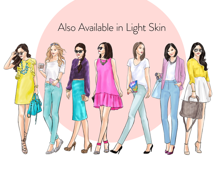 Watercolor fashion illustration clipart -  Fashion Girls 24 - Dark Skin