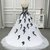 White and Black Sweetheart Long Party Gown, Wedding Party Dress