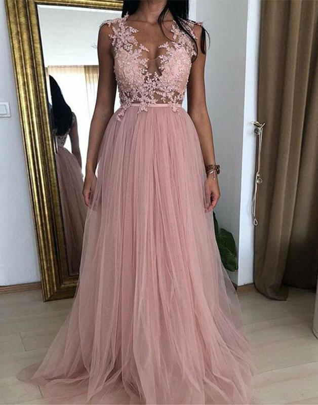 Pink Tulle and Lace A-line Party Gowns Beautiful Evening Gowns