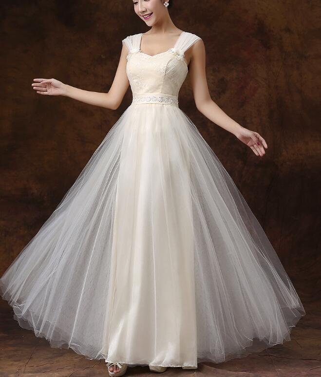 Light Champagne Floor Length Party Dress, Beautiful Wedding Party Dresses