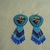 Native American Style Rosette beaded Eagle earrings in Light Blue and Montana