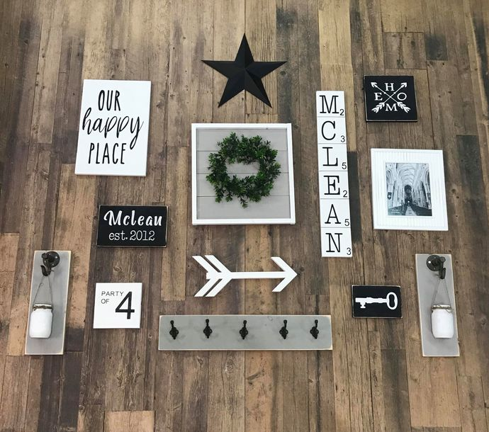 DIY- Family Gallery Wall Shiplap Wreath Feature