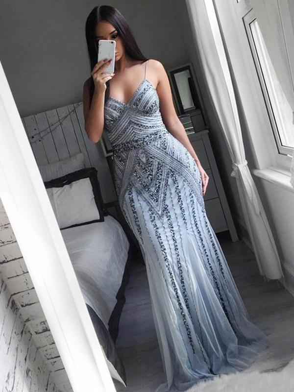 Charming Spaghetti Straps Grey Tulle Mermaid Formal Evening Dress with Beading