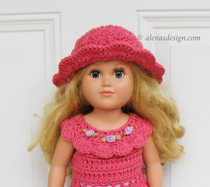 Crochet Pattern 225 Rosie Sun Hat for 18 inch Doll American Girl Dolls Pattern