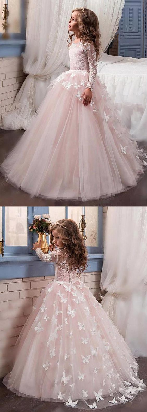 Stunning Tulle & Lace Scoop Neckline Ball Gown Flower Girl Dresses With Beaded