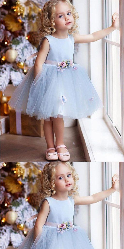 A-Line Knee Length Blue Tulle Flower Girl Dress With Flowers,Cheap Flower Girl