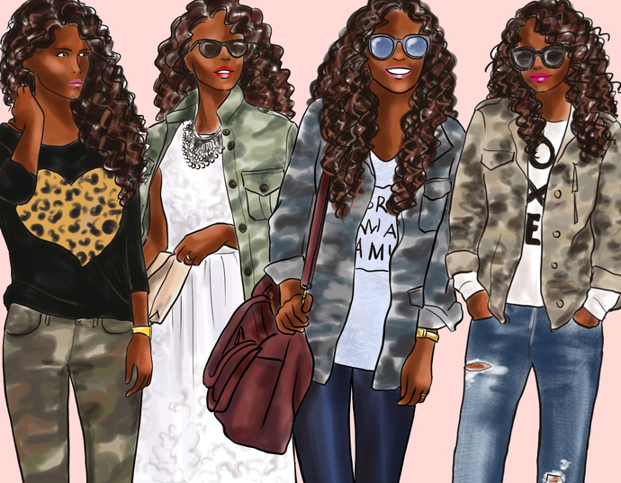 Watercolor fashion illustration clipart - Girls in Camo - Dark Skin