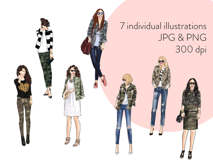 Watercolor fashion illustration clipart - Girls in Camo - Light Skin