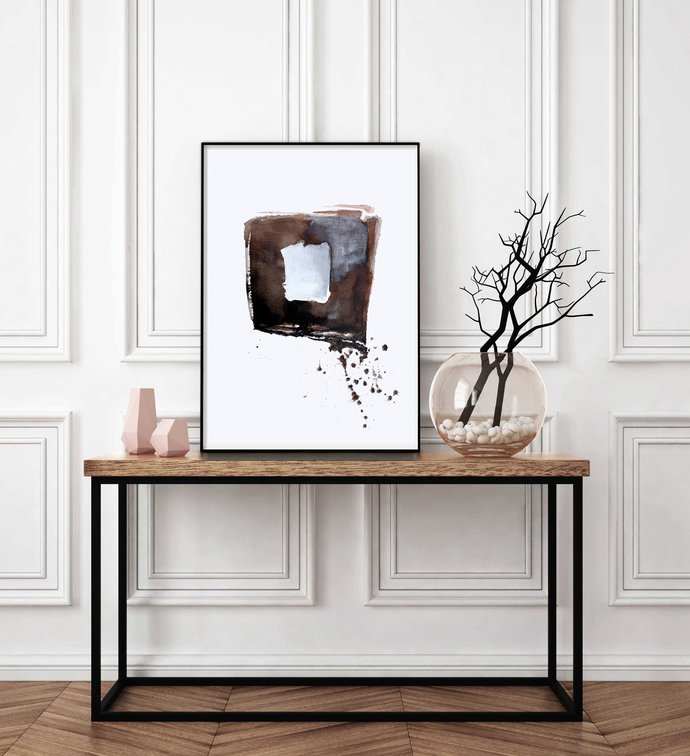 Neutral Abstract Art, ink abstract, Large printableArt, Black and Brown Art,