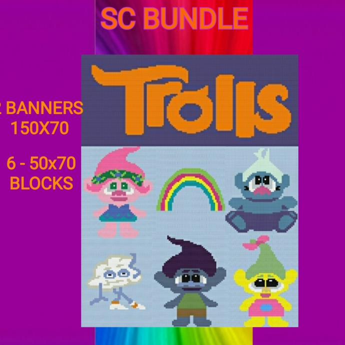 Trolls - 8 Pattern Bundle - SC - Graphs w/Written