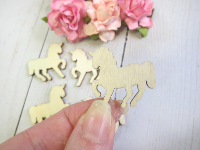 Wood Unicorn Embellishment 5pcs