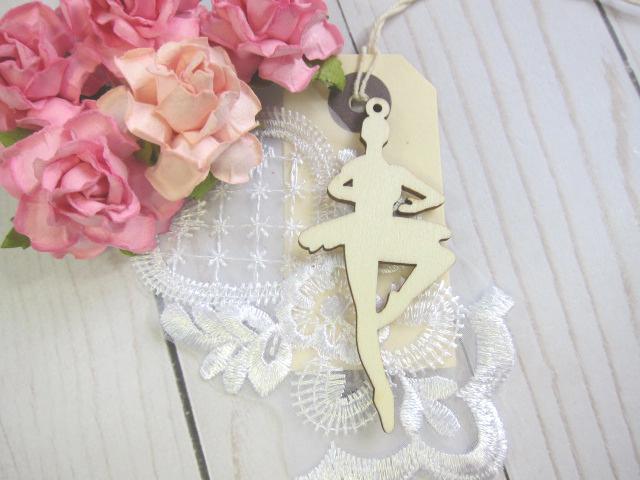 Wood Ballerina Embellishment 2pcs