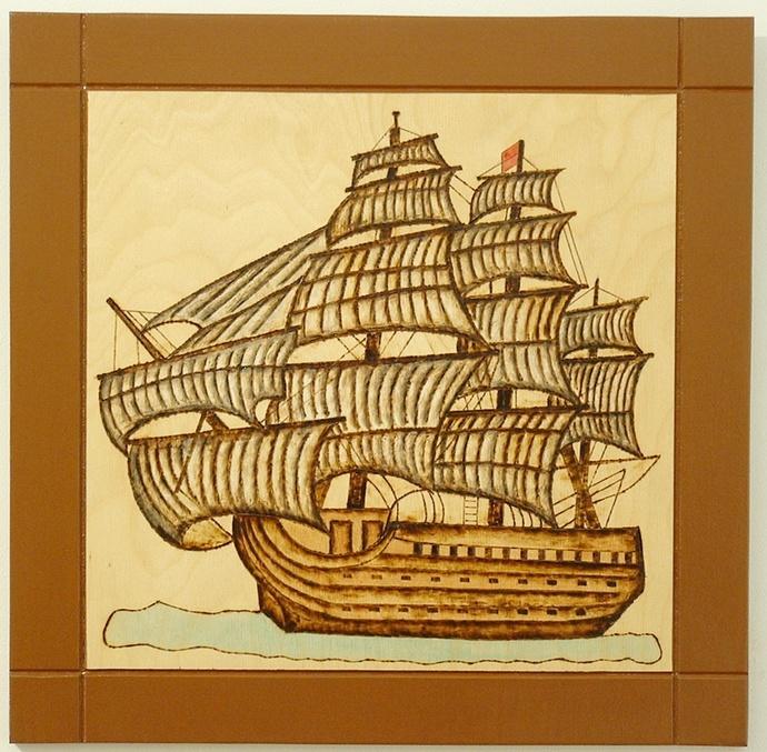 Old Ship, Wood Wall Art, Pyrography Art, Nautical Wall Decor