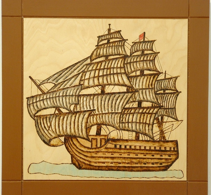 Old Ship, Wood Wall Art, Pyrography Art, Nautical Wall Decor