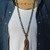 Long Beaded Turquoise Necklace with Leather Tassel by KnottedUp