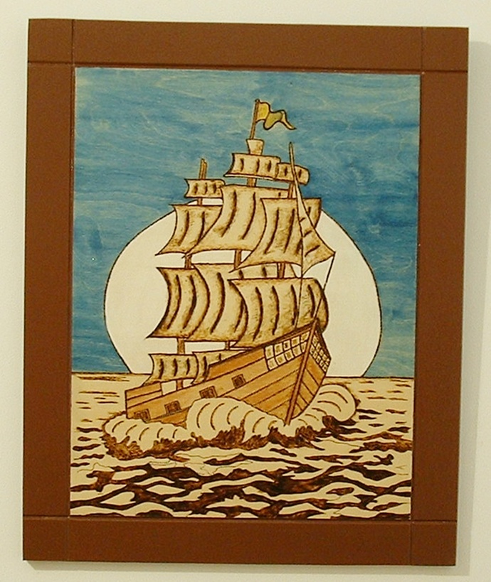 Old Sailing Ship, Wood Wall Art, Pyrography, Wood Burned, Wall Decor for Home