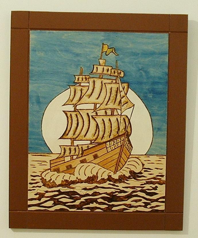 Old Sailing Ship, Wood Wall Art, Pyrography, Wood Burned, Wall Decor for Home