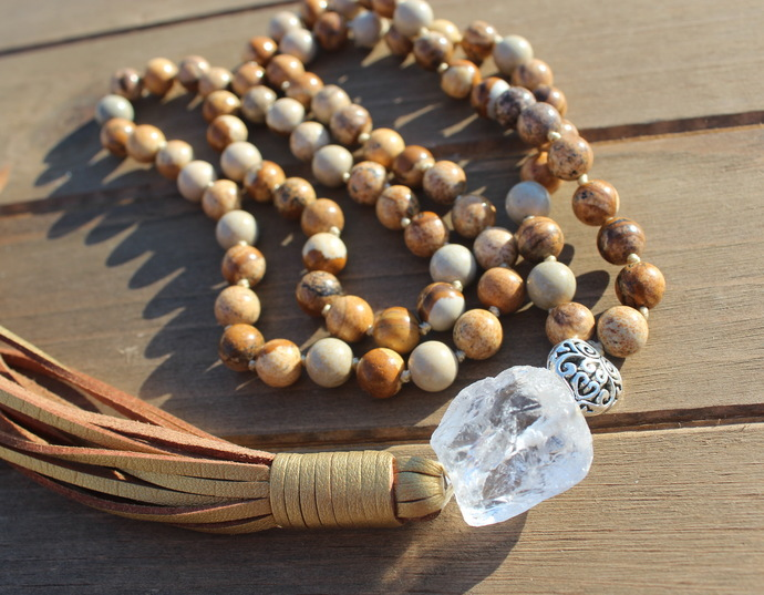 Long Beaded Necklace with Tassel Hand knot Brown Picture Jasper by KnottedUp