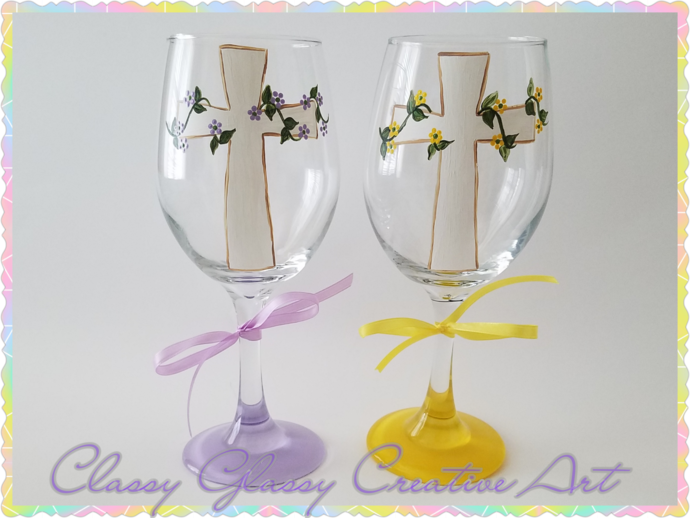 Cross Hand Painted Wine Glass