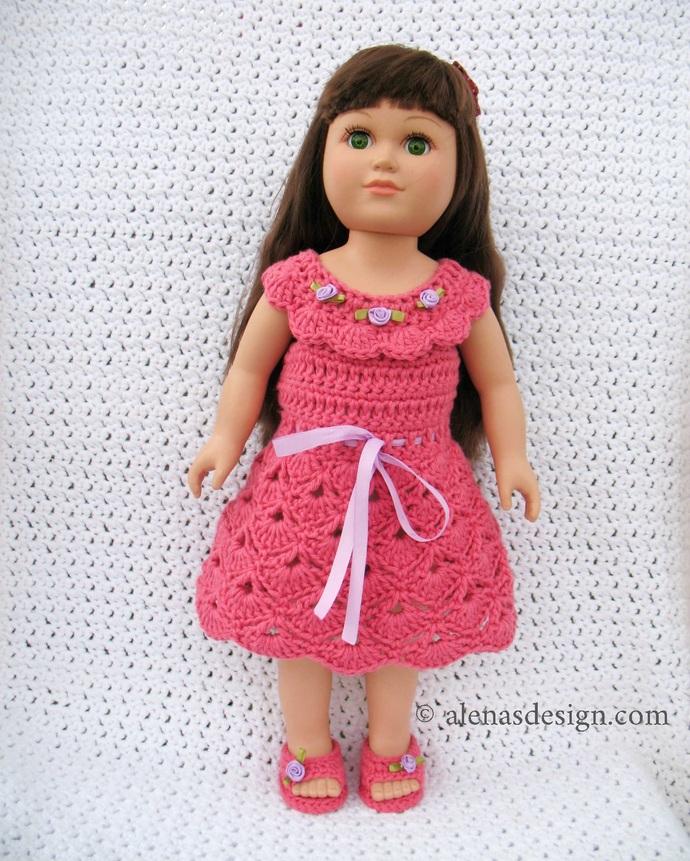 Crochet Pattern 226 Crochet Dress for 18 inch Doll American Girl Doll Summer
