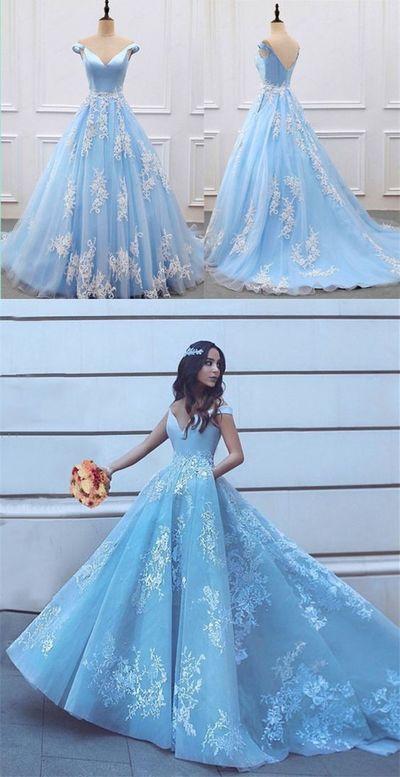 Elegant V-neck Off Shoulder Light Blue Prom Dresses Ball Gowns