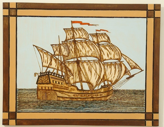 Tall Masted Ship, Wood Wall Art, Home Decor, Pyrography, Hand Painted