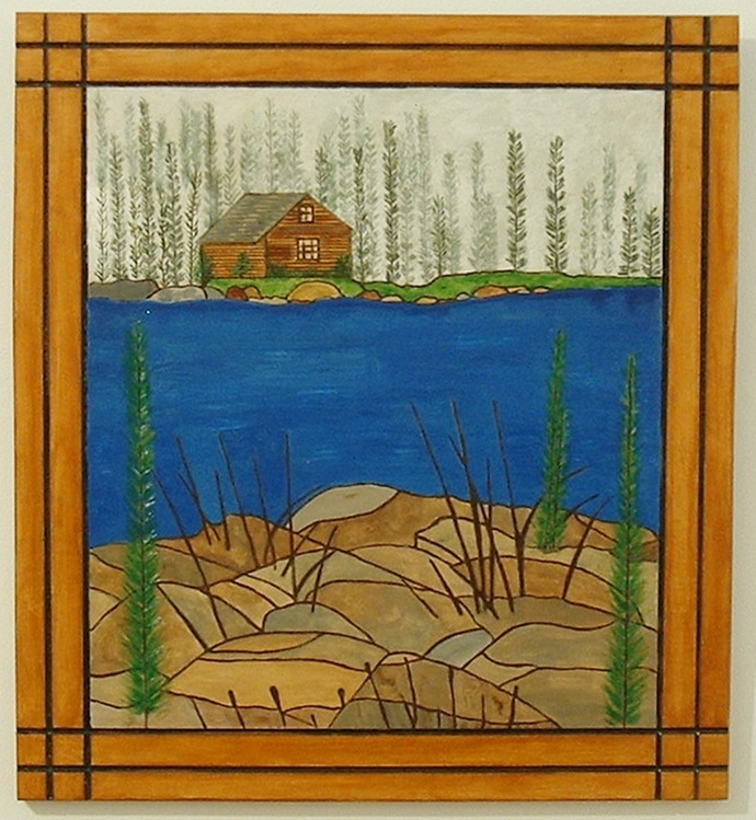 Cabin on the Lake, Pyrography, Wood Wall Art