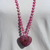 Long Beaded Necklace with Heart Pendant Hand Knot Pink Crazy lace agate jewelry