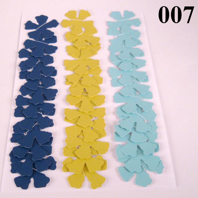 Dark and Light Blue Yellow Die Cut Wallpaper Flowers