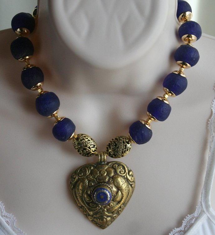 African Recycled Cobalt Blue Glass Statement Necklace, Nepalese Handmade Lapis
