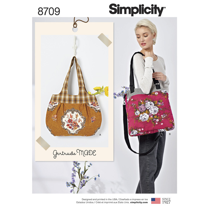 Simplicity Pattern 8709 - Gertrude Made Bags, Retro Inspired Bag, Boho Bag,