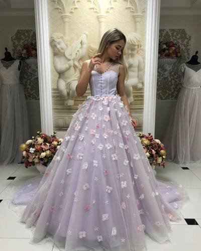 Unique handmade elegant lilac dress