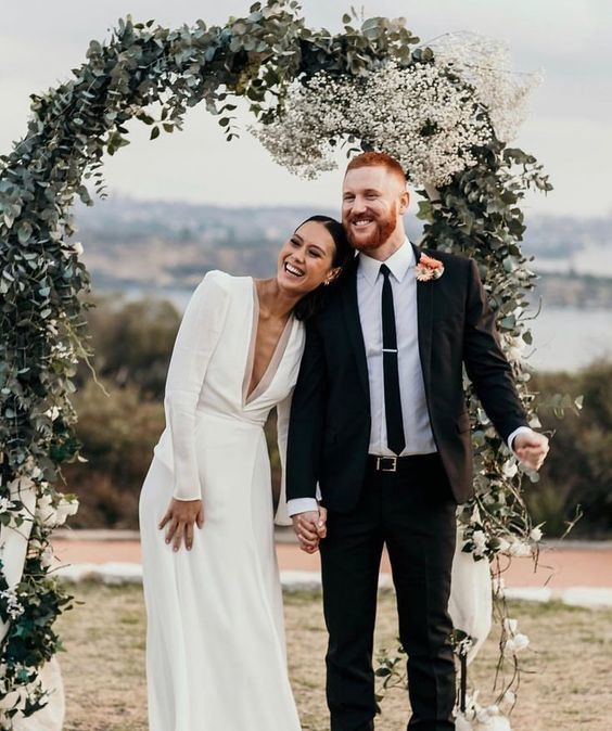 Modest Elegant Wedding Dress, Sexy Deep V Neck Wedding Dress, Long Sleeve Bridal