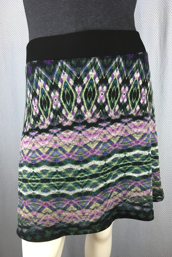 Soft Sweater Knit Fabric Skirt Fully Lined with Hidden Adjustable Tie