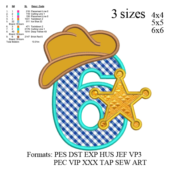 Sheriff number 6 ; 6th birthday applique embroidery design, applique embroidery