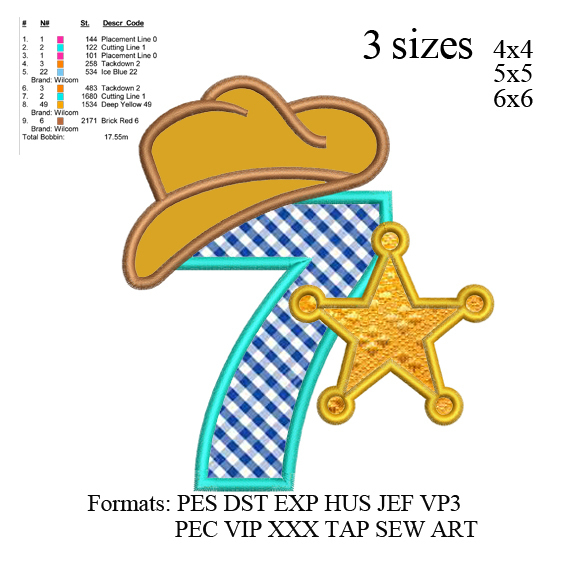 Sheriff number 7 ; 7th birthday applique embroidery design, applique embroidery