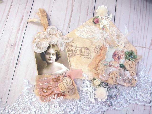 Envelope Vintage Boho Printable Digital Tags & Flowers Ephemera JPEG